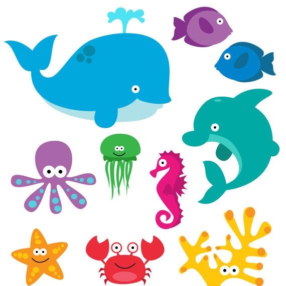 Sea Animals Clip Art Clipart Sea Creatures Clip Art by PinkPueblo, $6.00
