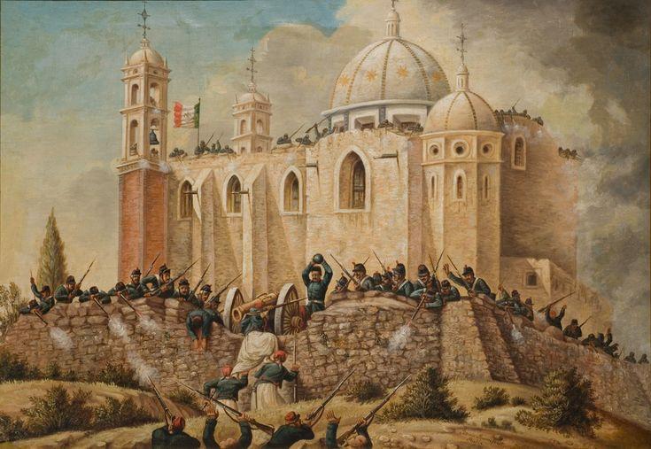 Batalla de Puebla (3 / 4)  (de la serie: Batalla de Puebla)  Patricio Ramos Ortega  1862  Óleo sobre tela  78 x 96 cm.  Colección Museo de Historia Mexicana