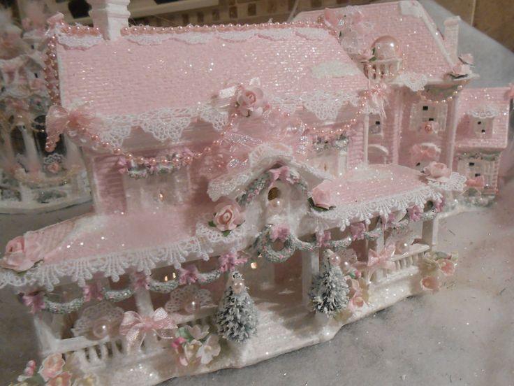 shabby pink victorian christmas  village  house  chic roses glitter 127 nov 21