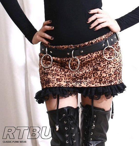 RTBU Punk Rock Leopard Mini Hipster Skirt w/ Suspender Garter Belt Bloomer Undershorts