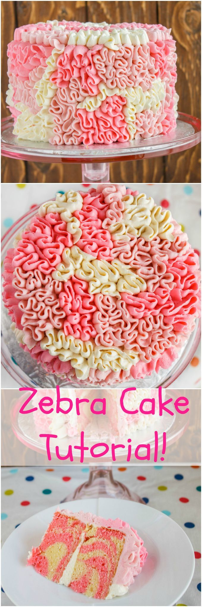 Zebra Cake with Messy Ruffles   #cake #dessert #pink   thecookiewriter.com