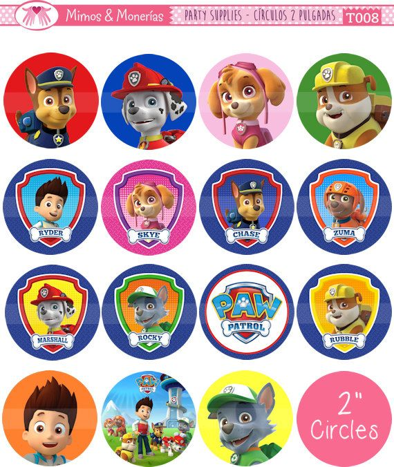 """Paw Patrol - 2"""" Circle Images - Digital Collage Sheet 8.5x11"""" - Cupcake Toppers, Printable Party Favors, Party Tags - INSTANT DOWNLOAD"""