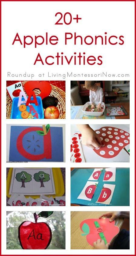 Roundup of 20+ Apple Phonics Activities; Post includes lots of Kid Blogger Network activity roundups plus worldwide $500 fall cash giveaway; post also includes Montessori phonics resources and Montessori Monday permanent collection