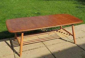 Vintage Ercol Coffee Table in Solid Elm & Beech with Dowelling Shelf - Model 459