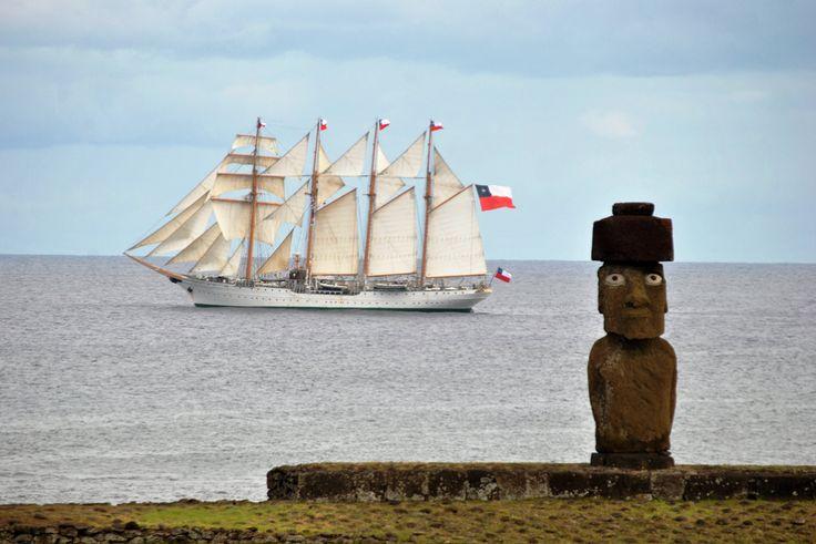 School Ship Esmeralda in Eastern Island, Chile.