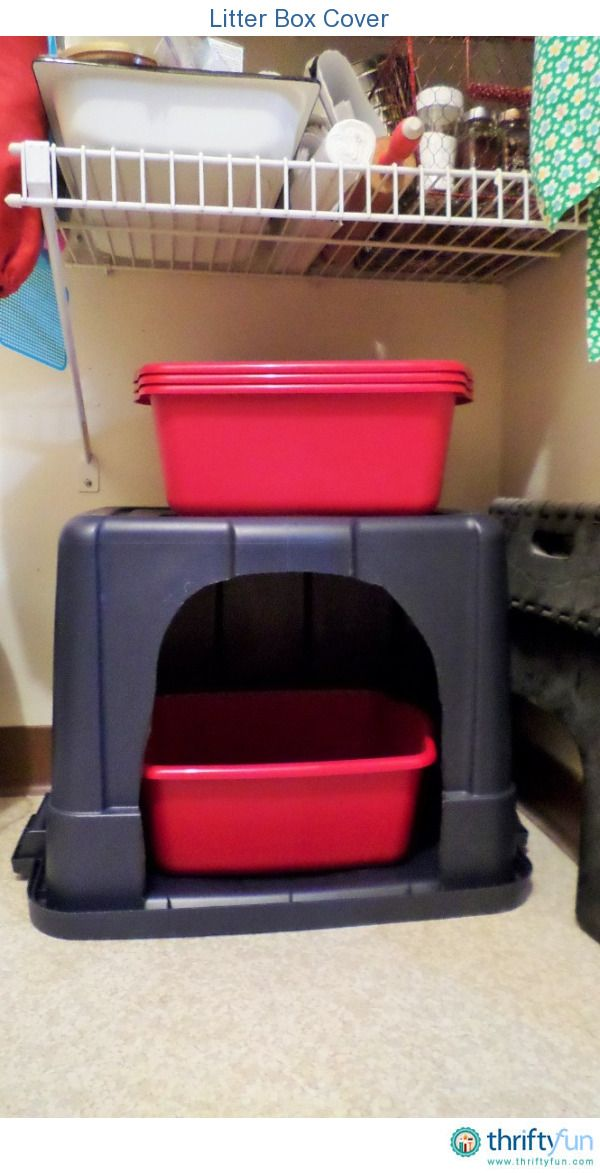 I have a large Rubbermaid-type storage container covering my kitty's litter box in my storage room. She used to kick litter all over the place. Now I have much less to sweep up, plus it looks much more pleasant for company.