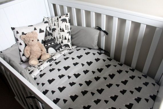 Black White And Grey Woodland Themed Cot Set Cot Sets Cot