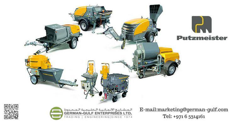 Putzmeister's powerful #plastering machines for #construction sites (worm pumps and piston pumps), floor screed #conveyors, fine #concrete pumps, fine plaster spraying #pumps.  For More Info, Contact CED Division: ced@german-gulf.com