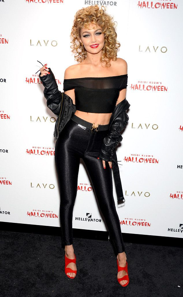 "Gigi Hadid from Stars Celebrate Halloween 2015  ""Look at me I'm Sandra Dee!"" The supermodel nails the iconic Grease character at Heidi Klum's Halloween party."