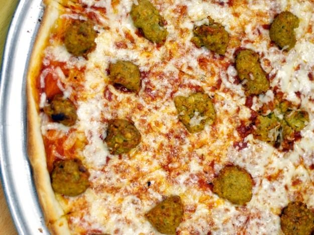 We Try the Falafel Pie From Benjy's Kosher Pizza Dairy Restaurant & Sushi…