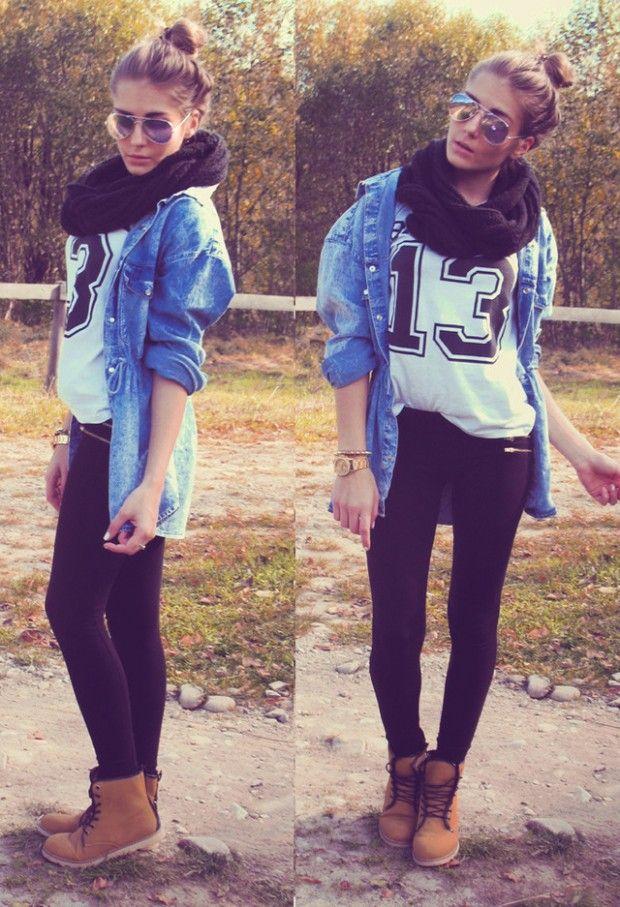 brown boots, black jeans, cute shirt, denim blouse, black scarf, messy bun…