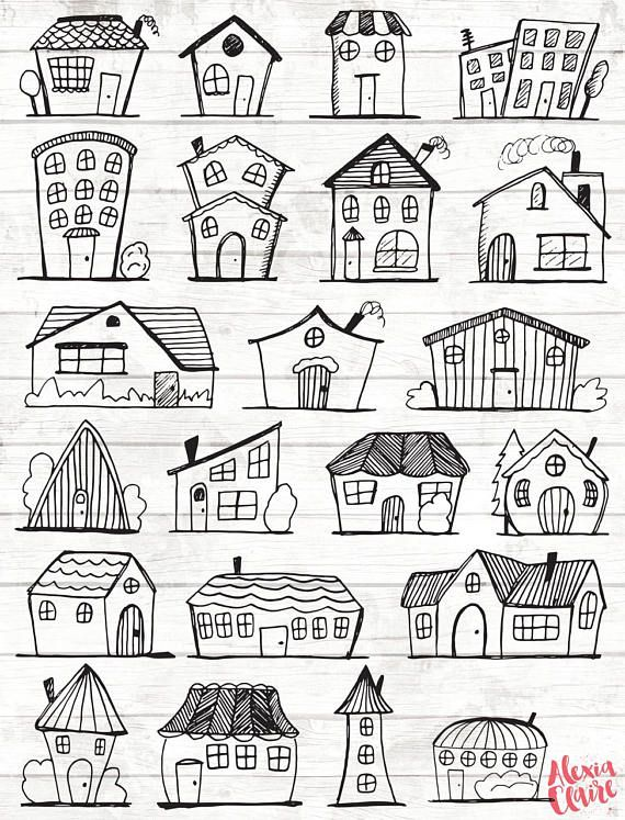 Doodle House Clipart – House vector Art – Home – House – City – Town – House PNG – Home Vector Download – House illustrations – 101