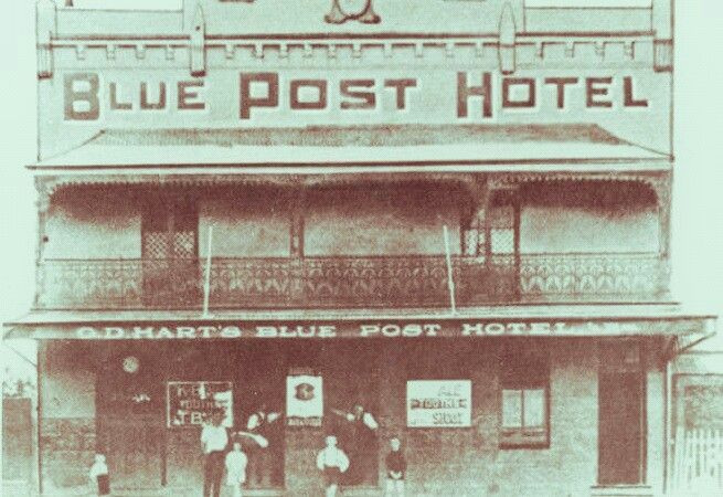 The Blue Post Hotel on Forest Road,Hurstville in southern Sydney in the 1880s.
