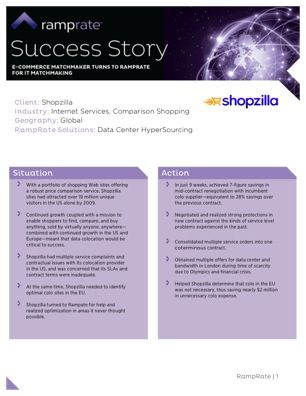 When Shopzilla had grown over 19 million unique site visitors, they faced multiple service complaints as well as contractual issues with their colocation provider in the US. Meeting their IT infrastructure optimization targets wasn't easy, but 7-figure $$$ savings in mid-contract renegotiation was achieved in just 9 weeks. Read this white paper to learn the exact amount, a detailed breakdown and how the targets were met successfully.