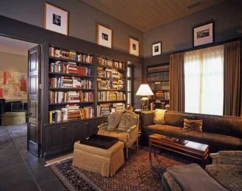 This is my ideal house, dark wood paneling with built in ...