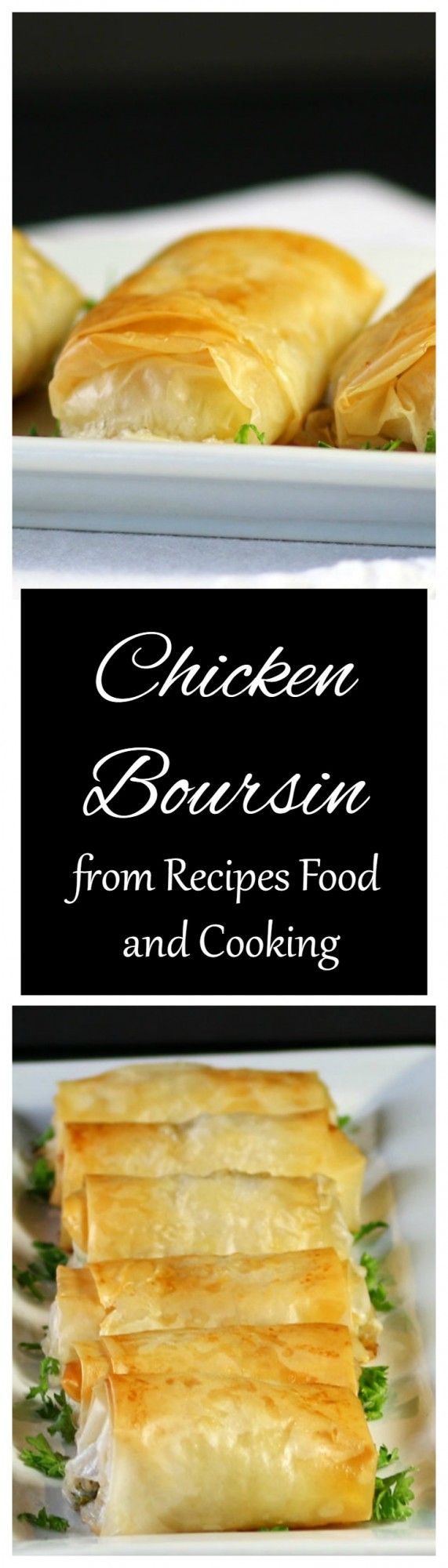 Chicken Boursin - The perfect appetizer, chicken breast pieces with homemade boursin wrapped in a flaky filo wrapping. #SundaySupper - Recipes, Food and Cooking
