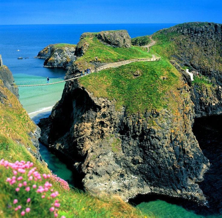 Here's a view of one of Ireland's more unique views: The Carrick-a-Rede Rope Bridge! #TourismIreland #Ireland
