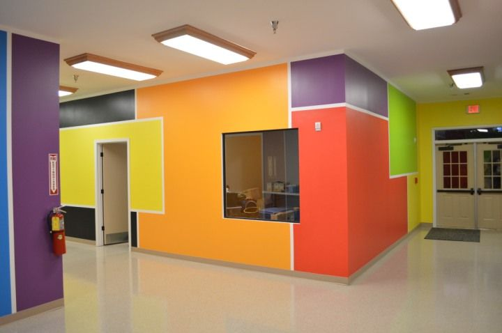 What a great to decorate a school hallway! There aren't any murals here but there's lots of fun! 7 different bright and bold colors all connected with white lines like a comic strip! The kids love it and it's easy enough to do in a playroom, basement, day care or other large area. You'll definitely want a large area to work in ... or at least some sunglasses!