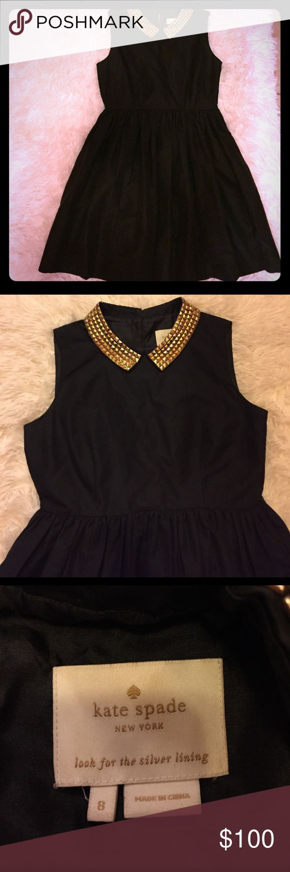 Kate Spade Black  dress with golden spikes collar Used but in very good conditions for special event. kate spade Dresses Midi