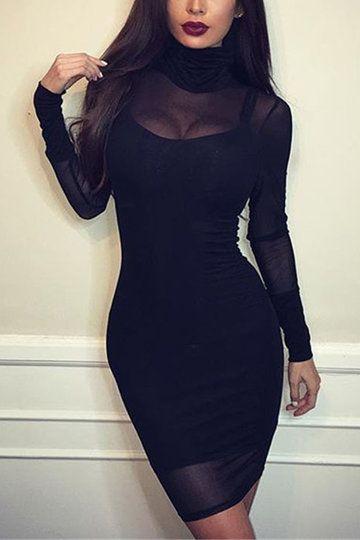 negro atractivo Ver a través del cuerpo del cuello alto-con mini vestido - US$17.95 -YOINS