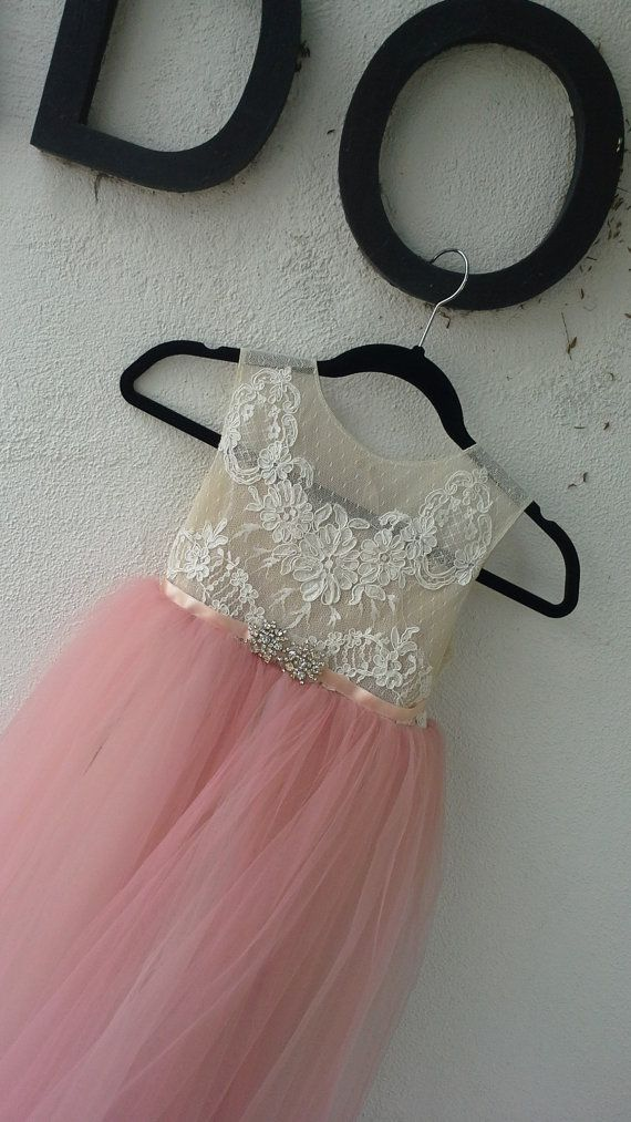 Stunning flower girl dress 'Annabella' with dusty pink tulle skirt , nude/ tan sheer bodice, French lace, birthday girl dress, fairy dress