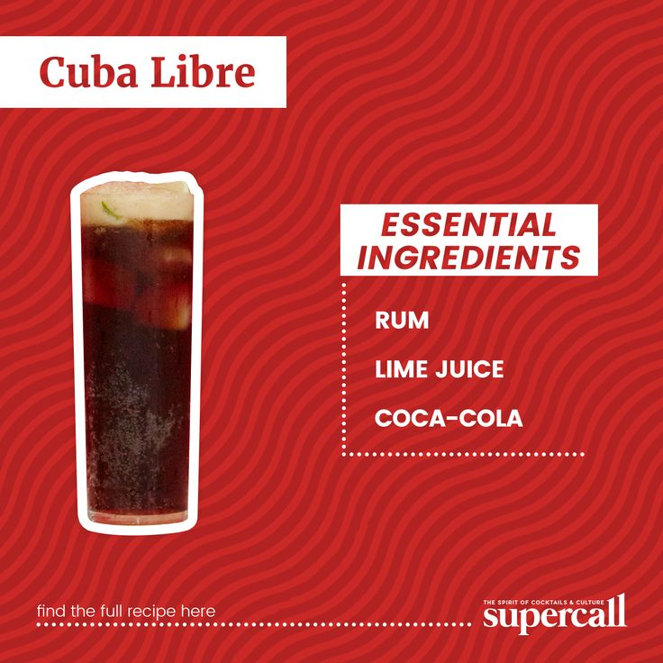 """The classic Cuba Libre, which also goes by the less mellifluous name """"rum and Coke with lime,"""" is one of the most popular drinks in the world. #rum #cocktails #cocktailrecipes"""