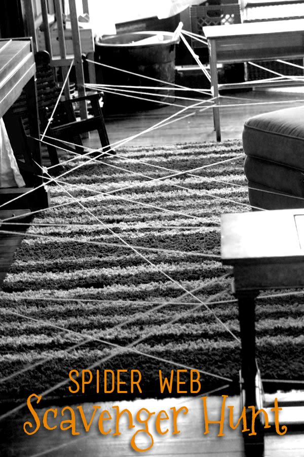 A spider web scavenger hunt for kids to do for Halloween -- help the spider find what he caught in his web!