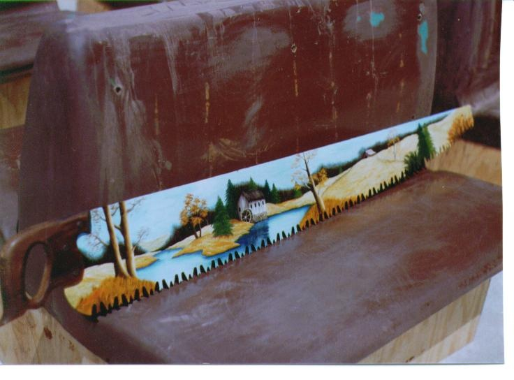 Water Mill By Carol Baker Painted On A Large Hand Saw For Dad