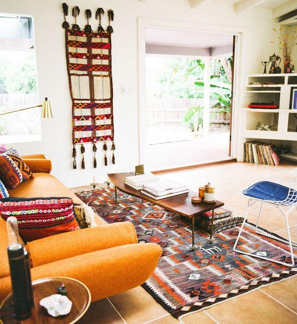 : Color Rooms, Living Rooms, Warm Color, Santa Barbara, New Apartment, Interiors Design, Rooms Ideas, Hippie Chic, Small Spaces