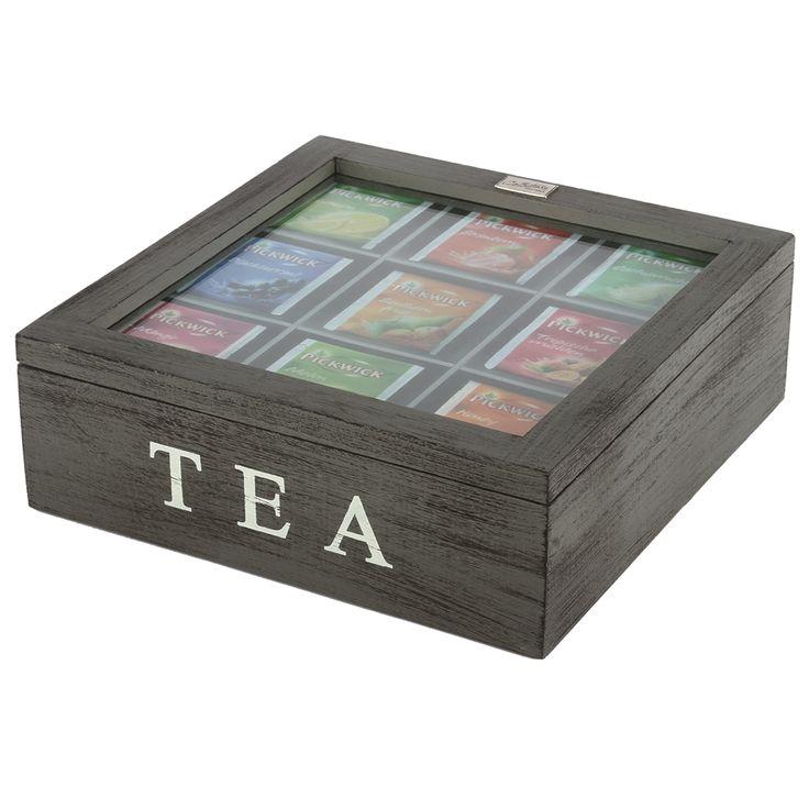 Thee doos Altavilla 9 vaks grijs + zwarte finish. Collectione / Casa-Bella #Accessoires #Opbergen #Doosje #Box #Theedoos #Tea