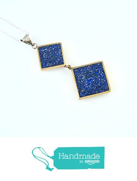 Sterling Silver Dark Blue Color Lapis Mosaic Double Diamond Pendant Necklace 16+2'' Silver Chain from echmeck https://www.amazon.com/dp/B06XYKJWGX/ref=hnd_sw_r_pi_dp_y.mbzbPSC42NA #handmadeatamazon