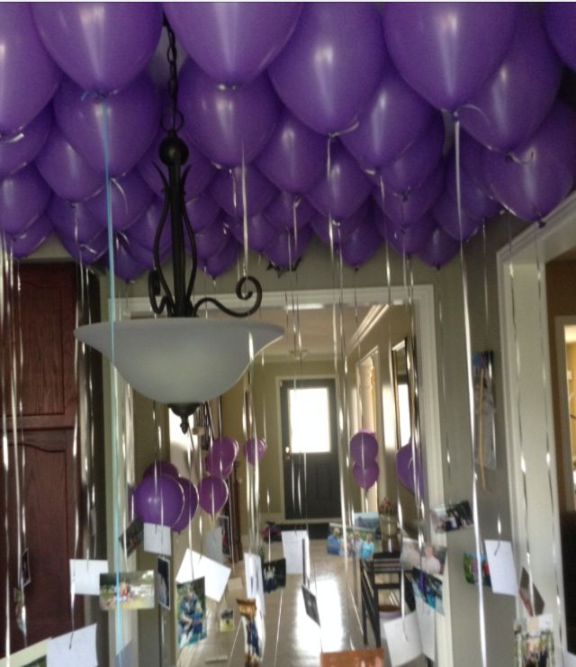 Filled 60 balloons with helium and attached photos of my for 30th birthday decoration ideas for her