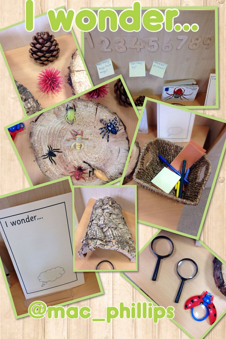 An area to promote 'wonder' - interesting objects and 'I wonder' mark-making materials