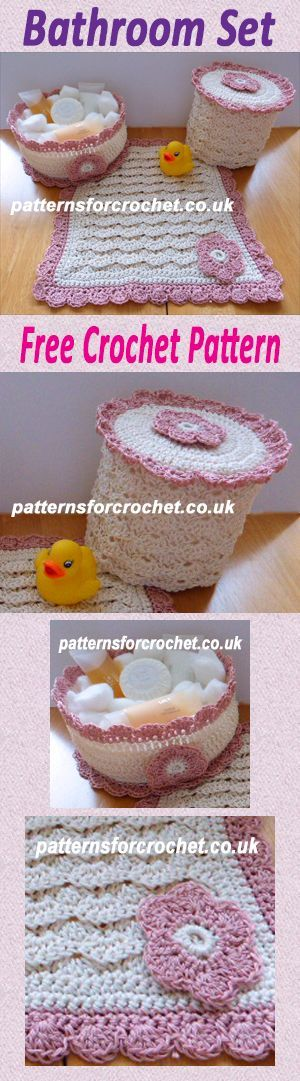 Free crochet pattern for 3 piece bathroom set. #crochet