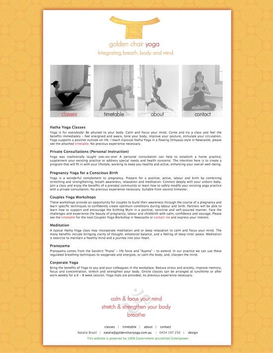 Web design for Golden Chair Yoga in Newcastle, NSW | Specialising in Pregnancy Yoga & Prenatal Yoga