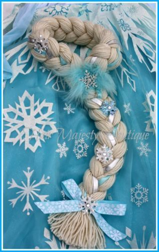 Frozen Elsa Dress Up Hair Made from soft yarn and perfect for playing dress up in or wearing to disney.It had beautiful sparkle ribbons braided in with sparkle snowflakes and a rhinestone center snowflake. measures 23 inches around the head and about 16 inches long.Best fit ages 4-8
