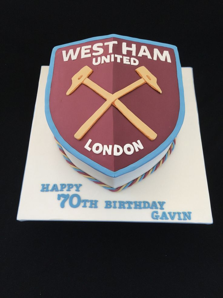 Westham United fc, club crest cake, west ham, football fan birthday cake!