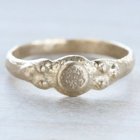 Dot Ancient Texture Ring. Unique alternative no-stone stoneless engagement ring, rustic textured ring made with 100% recycled gold or palladium.