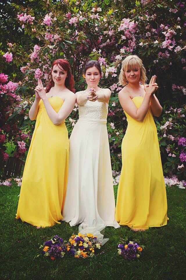 Photography yellow purple bridesmaids bride Charlie's Angels