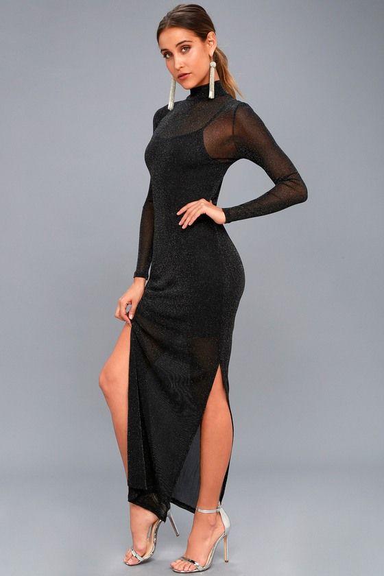 Silver Linings Black Long Sleeve Maxi Dress 2