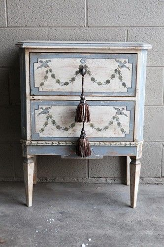 Vintage Painted Bedside Commode