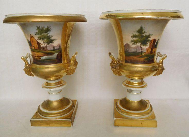 Paire de VASES MEDICIS en PORCELAINE DE PARIS décor doré à l'or fin | Céramiques, verres, Céramiques françaises, Porcelaine de Paris | eBay!