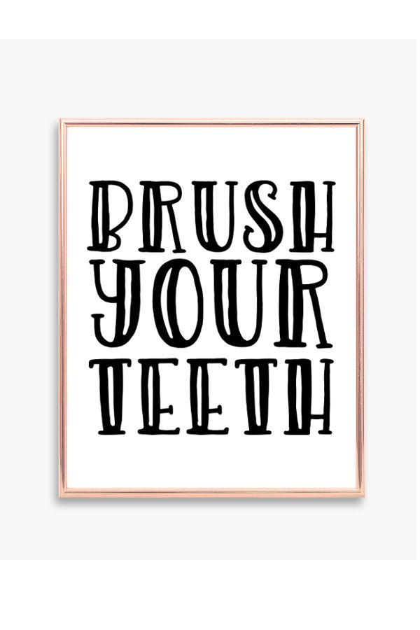 Brush Your Teeth Printable Bathroom Wall Decor Waiting Room