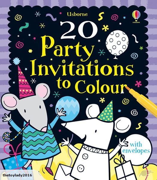 20 party invitations to colour    A box of twenty vibrantly designed party invitations with patterned envelopes.
