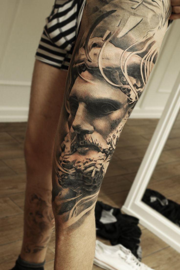 Leg sleeve leg tattoo huge leg sleeve mark wosgerau statue for Leg sleeve tattoo girl