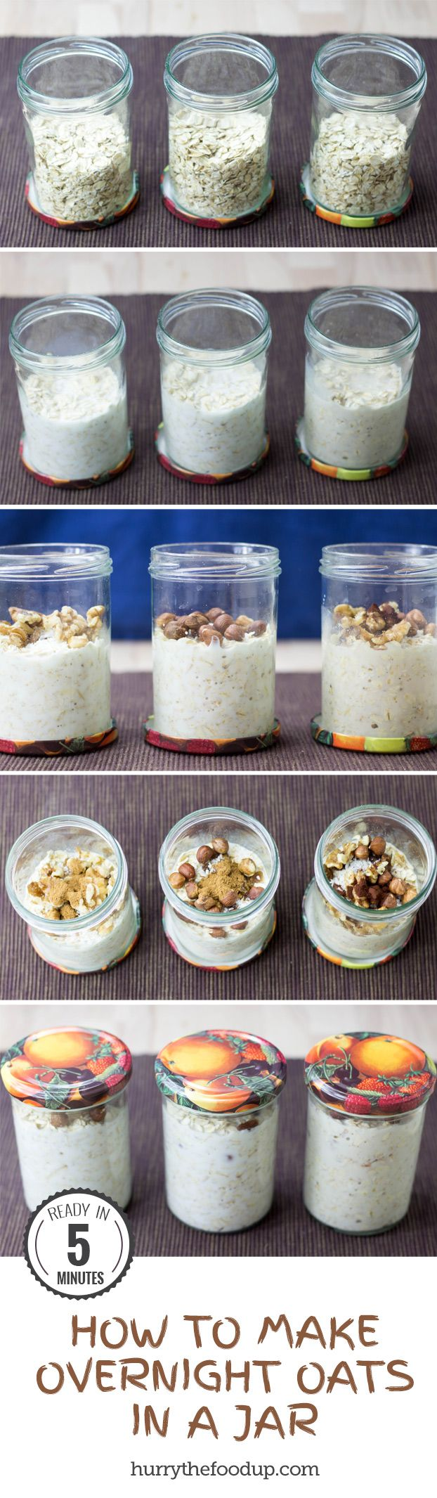 How To Make Overnight Oats in a Jar + 28 Tasty Overnight Oats Recipes #oats #breakfast | hurrythefoodup.com