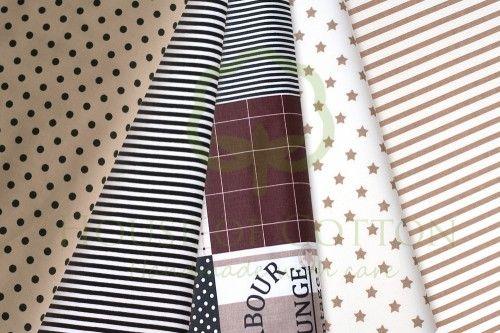 Brown marine patchwork cotton fabric set / Zestaw patchworkowy brązowy