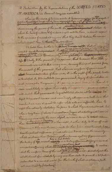 Thomas Jefferson's original rough draft of the Declaration of Independence, written in June 1776, including all the changes made later by John Adams, Benjamin Franklin and other members of the committee, and by Congress.