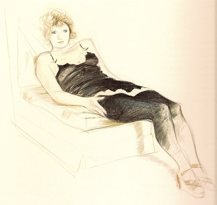 David Hockney drawing of Celia