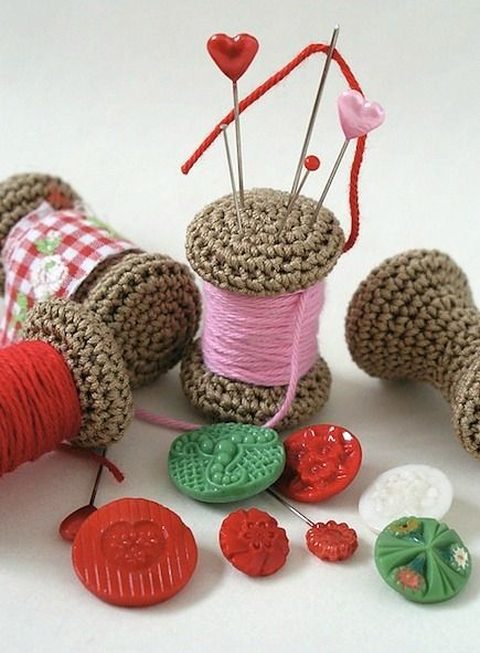 The yarn spool pin cushion makes a fun crochet project because of its small size & portability.The pattern is available at Anna Hillegonda's Ravelry shop as a free download. She provides a photo tutorial as well as the written pattern, and the finished project stores sewing pins and needles. Posted by CraftFoxes Staff on Jul 05, 2013